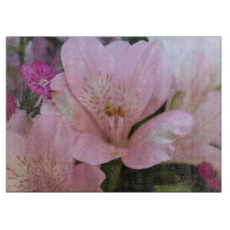 DELICATE PINK FLOWERS GLASS CUTTING BOARD