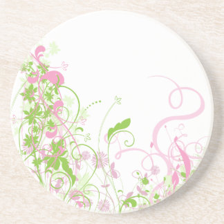Delicate Pink & green floral swirls Coaster