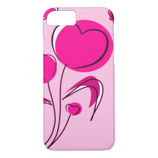Delicate Pink Heart Flowers Design iPhone 7 Case