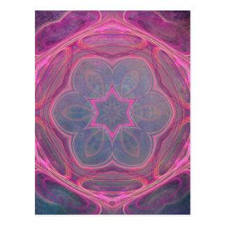 delicate pink kaleidoscope flower postcard