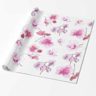 Delicate pink orchids inwatercolors wrapping paper