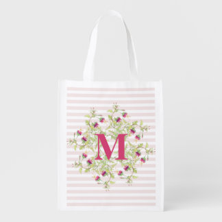 Delicate Pink Roses Floral Monogram Reusable Bag