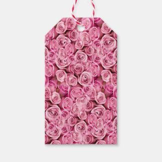 Delicate Pink Roses Floral Photo Pattern Gift Tags
