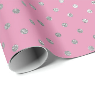 Delicate Pink Silver Polka Dots Shiny Vip Wrapping Paper