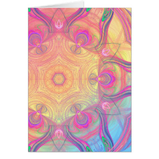 Delicate psychedelic kaleidoscope greeting card