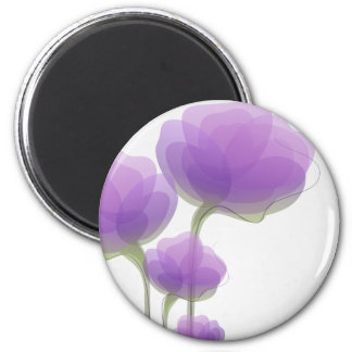 Delicate Purple Abstract Flowers Fridge Magnets