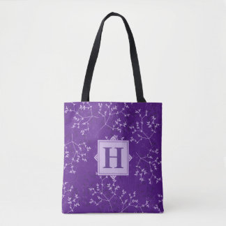 Delicate Purple Branches Monogram Tote Bag
