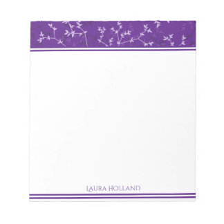 Delicate Purple Branches Personalized Notepad