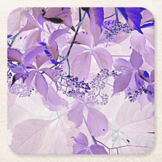 Delicate purple vine square paper coaster