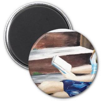Delicate reading 6 cm round magnet