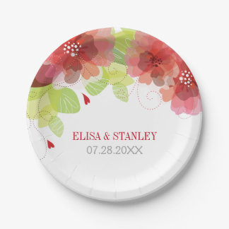 Delicate red, pink flowers floral spring wedding 7 inch paper plate