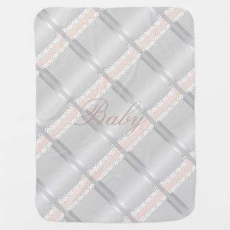 Delicate Silver and Peach Baby Blanket
