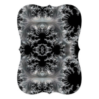 Delicate Silver Filigree on Black Fractal Abstract Card