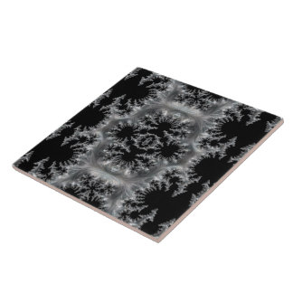 Delicate Silver Filigree on Black Fractal Abstract Ceramic Tile
