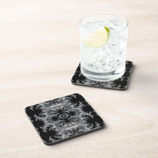 Delicate Silver Filigree on Black Fractal Abstract Coaster
