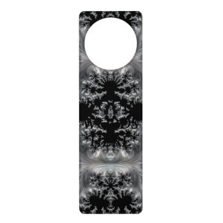 Delicate Silver Filigree on Black Fractal Abstract Door Hanger