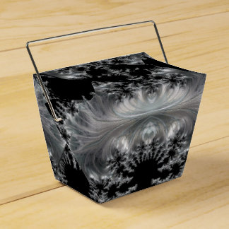Delicate Silver Filigree on Black Fractal Abstract Favour Box