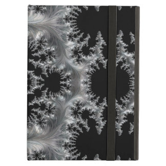 Delicate Silver Filigree on Black Fractal Abstract iPad Air Case