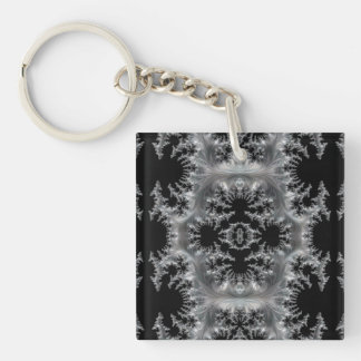 Delicate Silver Filigree on Black Fractal Abstract Key Ring
