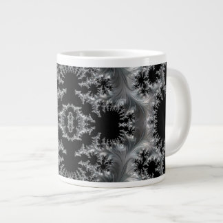 Delicate Silver Filigree on Black Fractal Abstract Large Coffee Mug