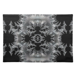 Delicate Silver Filigree on Black Fractal Abstract Placemat