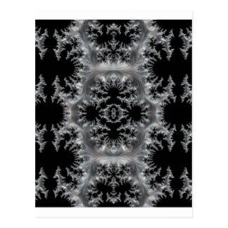 Delicate Silver Filigree on Black Fractal Abstract Postcard