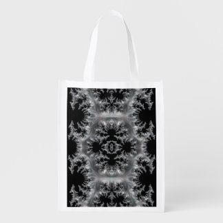 Delicate Silver Filigree on Black Fractal Abstract Reusable Grocery Bag