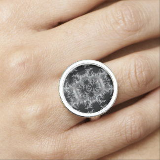 Delicate Silver Filigree on Black Fractal Abstract Ring