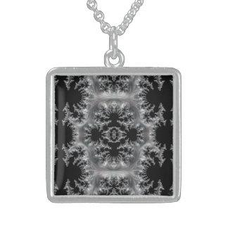 Delicate Silver Filigree on Black Fractal Abstract Sterling Silver Necklace