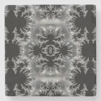 Delicate Silver Filigree on Black Fractal Abstract Stone Coaster