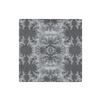 Delicate Silver Filigree on Black Fractal Abstract Stone Magnet