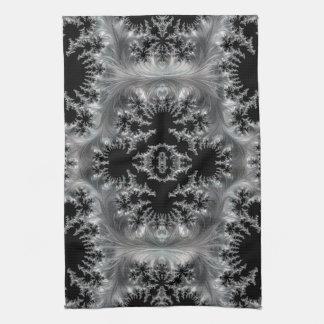 Delicate Silver Filigree on Black Fractal Abstract Tea Towel