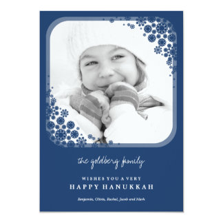 Delicate Snowflakes Hanukkah Greetings Photo Card 13 Cm X 18 Cm Invitation Card