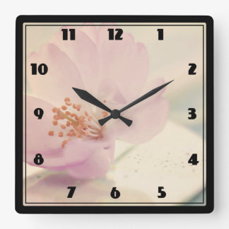 Delicate Soft Pink Cherry Blossom Flower Clock