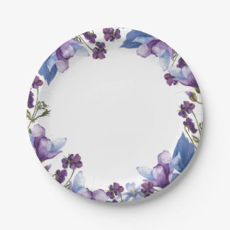 Delicate Spring Flowers Purple Spring Floral Paper Plate