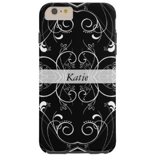 Delicate Swirling Floral Pattern in White on Black Tough iPhone 6 Plus Case
