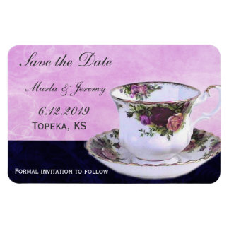 Delicate tea cup save the date rectangle magnets