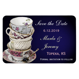 Delicate tea cup save the date magnet