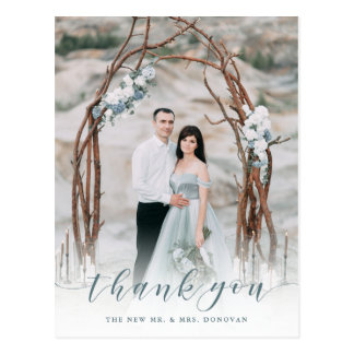 Delicate Thanks | Muted Blue Wedding Photo Postcard