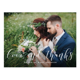 Delicate Thanks | Wedding Photo Thank You Postcard