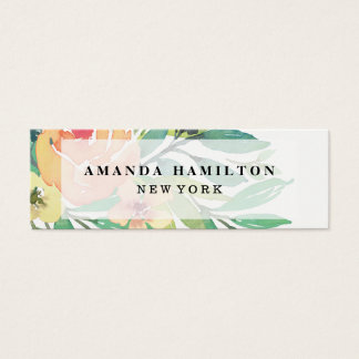 Delicate trendy Watercolor  PEONY Flower Bouquet Mini Business Card