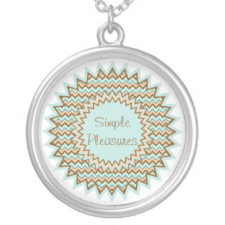 Delicate Turquoise and Brown Star Burst Zigzag Necklace