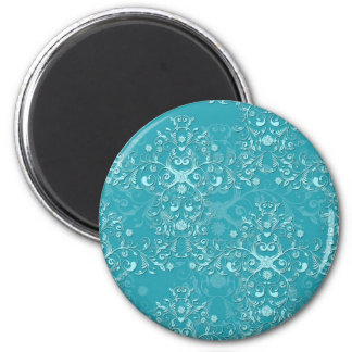 Delicate Two Tone Fancy Floral Teal Damask 6 Cm Round Magnet
