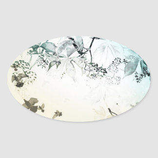 Delicate vines and doves oval sticker