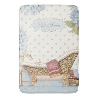 "Delicate Vintage French ""Le Bain"" Bathroom Decor Bath Mat"