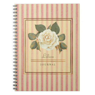 Delicate, Vintage Rose Spiral Notebooks