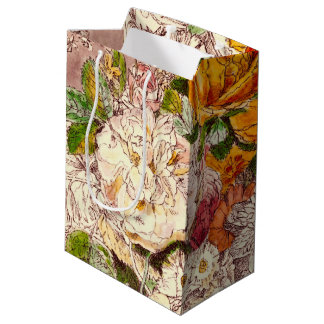 Delicate Vintage Roses Art Medium Gift Bag