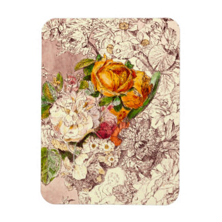 Delicate Vintage Roses Art Rectangular Photo Magnet