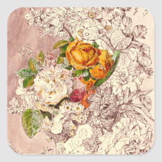 Delicate Vintage Roses Art Square Sticker