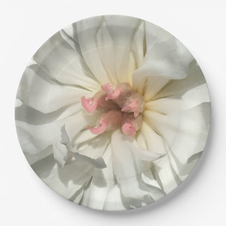 Delicate White and Pink Peony Paper Plate